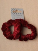 Card of 2 Small Burgundy Velveteen fabric scrunchies (Code 2802)